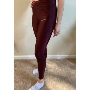 Nike Running Dri Fit Maroon Leggings